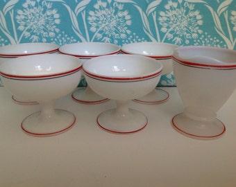 Hazel Atlas dessert cups, custard cups, sherbet cups, hazel atlas bowls, striped Hazel Atlas, milk glass bowl, milkglass cups, red and black