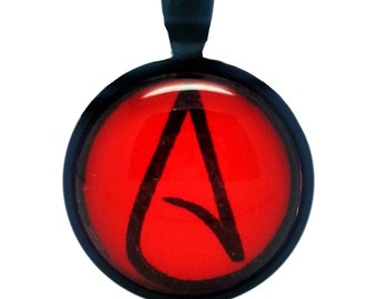Atheist Logo, Black and Red Pendant