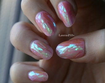 Shattered glass sheer pink press on nails! Broken glass nails, iridescent false oval nails!
