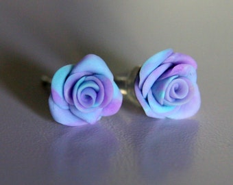 Handmade rose stud earrings.  Clay, cold porcelain,  lilac roses, gift for bridesmaids, wedding favors