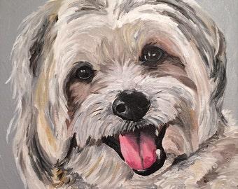 Custom dog Painting Custom dog portrait on canvas