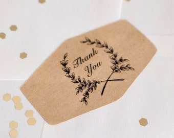 Thank you envelope sticker seal brown kraft paper with black ink