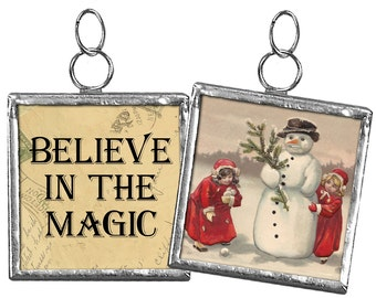 "Believe in the Magic Snowman & Girls #42"" ----- 2"" Reversible Framed Christmas Charm Ornament"