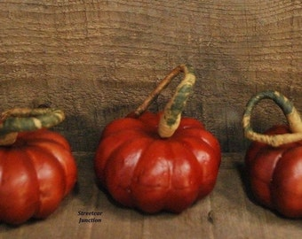 "6 Faux Pumpkins ... Bowl Fillers, - - Halloween - Fall Harvest ... 2-3/4"" wide  ..."