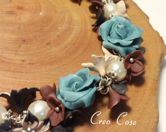 Marble Blue Roses Ncklace/Earrings - unique handmade polymer clau jewellery by CreoCose