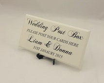 Personalised Wedding Sign, Wedding Post Box, Wedding Cards,Table Decor, Cards, Shabby Edged, Plain Off White,  code 267