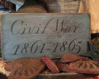 """7""""x14"""" Civil War Sign in Blue"""