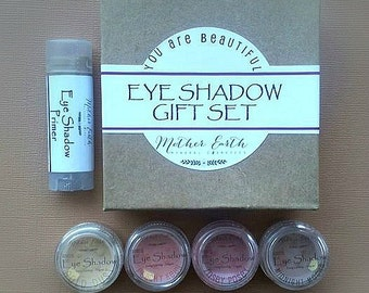 All Natural Eye Shadow + Primer Gift Set - Makeup - Mineral Cosmetics - Beauty Care - Essential Oil - Women - Gift - Tube - Organic