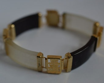 Chinese Longevity Rectangle Blackstone & Frosted Quartz Bracelet (1025021) FREE US SHIPPING