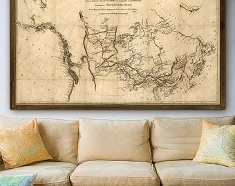 """Map of Canada 1801, Old Canada map up to 42x24"""" 105x60cm Early map of Canada & US, Mackenzie exploration track - Limited Edition of 100"""