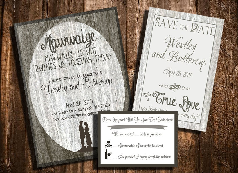 The Princess Bride Printable Wedding Invitation, Save The Date, And RSVP  Set   Customize
