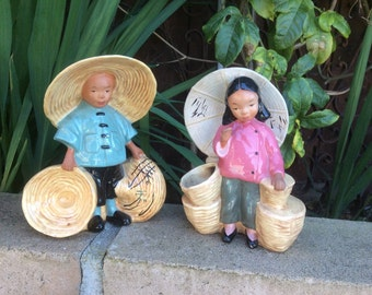McCarty Pottery of California Asian Boy and Girl Planters 1940's