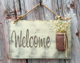 Mason Jar Welcome Sign - Distressed Welcome Sign - Housewarming Gift - Front Door Welcome Sign & Mason Jar Welcome Sign Distressed Welcome Sign Pezcame.Com