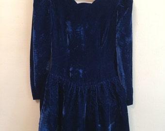 Vintage 80s blue velvet puffball dress