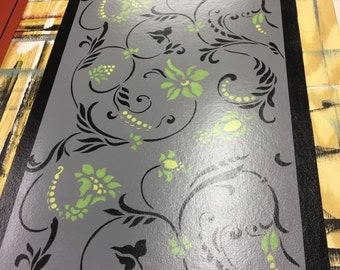 2' x 3' Painted canvas floorcloth