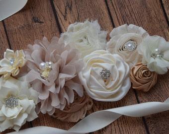 Sash, natural color Sash,  flower Belt, maternity sash