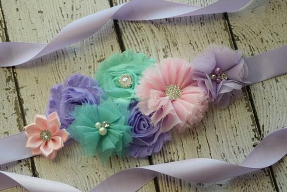 Sash, Violet aqua and light pink Sash , flower Belt, maternity sash