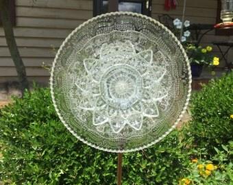 Glass Garden Flower - Flower Bed -Decor - Plate Flowers - Art Flowers - Glass Flowers - Dish Flowers - Outdoor Decor - Garden Decor