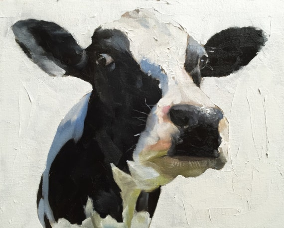 Cow Painting Cow Art Cow Print Cow Oil Painting Holstein Cow