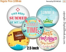 SALE 70% Digital Collage Sheet SUMMER TIME 2.5inch Printable Circles Download for cupcake toppers Pocket Mirrors Magnets Label