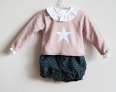Pink Jumper with white star for babygirl made in Spain / cute baby clothes/ baby knit