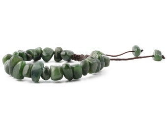 Canadian Nephrite Jade Power Beads, Nugget Pull Closure