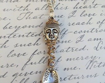 Silver Wire Wrapped Buddha Spoon Pendant Necklace