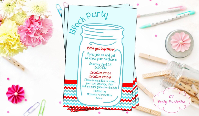 nachbarschaft block einladung zur party digital drucken zu, Einladung