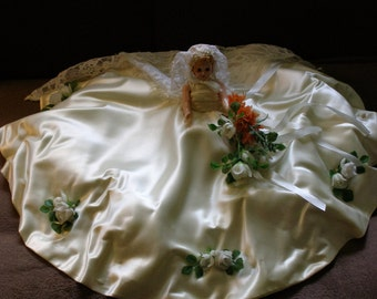 1940s/1950s Strawberry Blonde Bride / Boudoir Doll - Work of Art Made from Vintage Bridal Gown/Veil/Fabrics