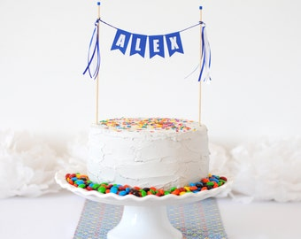 Blue Personalized Cake Bunting - Custom Name Cake Topper - Personalized Cake Topper Birthday - Custom Birthday Cake Topper for Kids