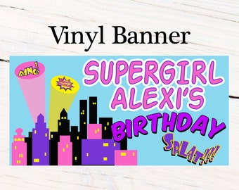 Super Hero Girls Personalized Banner  ~ Happy Birthday Personalized Party Banners- Large Photo Banner, Printed Vinyl Banner, Custom Banner