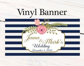 Wedding Flowers Party Vinyl Banner  ~ Wedding Shower Personalize Party Banners - Bridal Shower Banner, Bridal Banner, Custom Banner