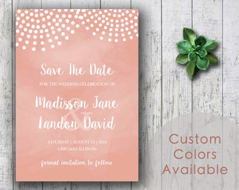 Printable Wedding Save The Date PDF - Polka Dots String Lights Wedding Announcements (in Grapefruit Or Your Choice in Color!)