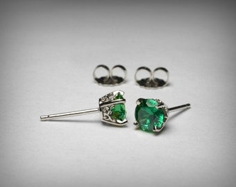 Simulated Emerald Earrings, 14K White Gold, Green CZ Earrings, Green Imitation Emerald Earring Studs, May Birthstone, Stud 14K Post Earrings