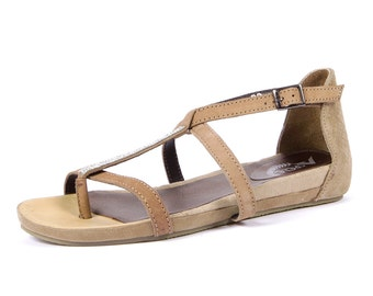 Womens Leather Fashion Sandals-Beige