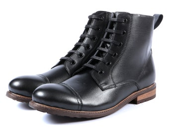 Aspele Mens Black Lace Up Combat/Army Ankle Boots- Leather Sole-Leather Linings
