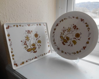 2 Vintage Retro 1970s Melamine Serving Trays Platters (Brown Onion Arcopal Design) By Mebel Made In Italy