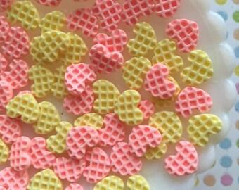 12 pcs. - Tiny waffles - kawaii decoden cabochons - heart shaped waffle flatback resin cabochons