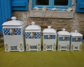 Matching set of FIVE French vintage canisters, pots, kitchenalia, retro, storage, jars, Czechoslovakia, porcelain, china,