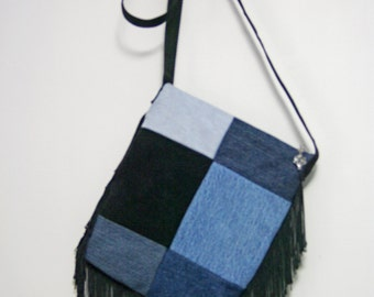 Purse Handbag Messenger Bag Pouch Fringe Blue Denim Fabric Jeans Women
