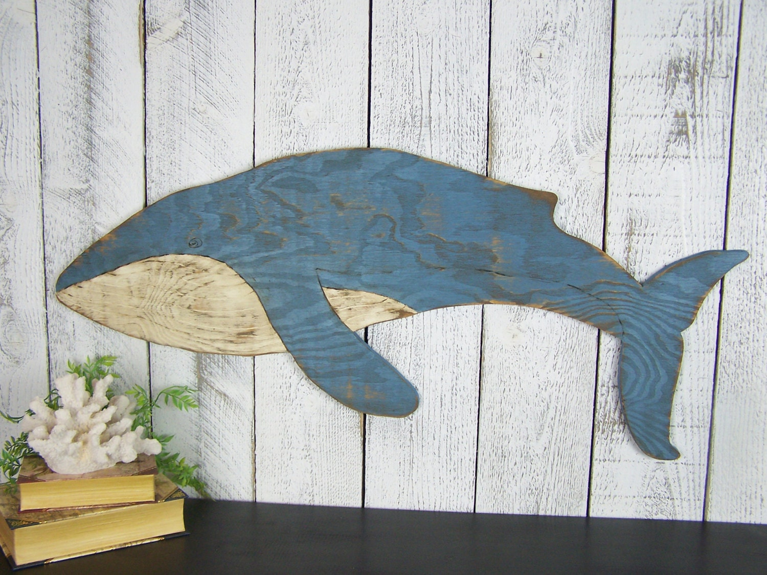 Blue Whale Wall Art Beach Whale Ocean Wall Decor Wooden Whale