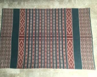 "Vintage Ikat Fabric Panel 61"" X 41"" Bohemian Chic Hippie"