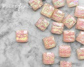 10pcs ∙ Peach Faceted Opal Acrylic Square Iridescent Decoden Gem Tiles Flatback Cabochon Faux Fire Opal Jewelry Supplies