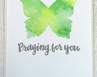 Praying for You / Notecard / Folded Notecard / Handstamped / Watercolor