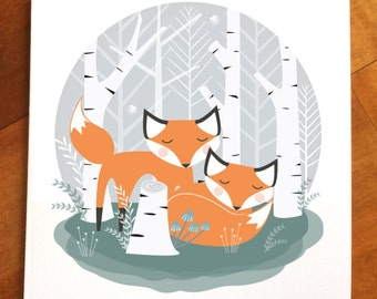 sleepy foxes in a woodland of birch trees greeting card, forest card, cute Fox mini print