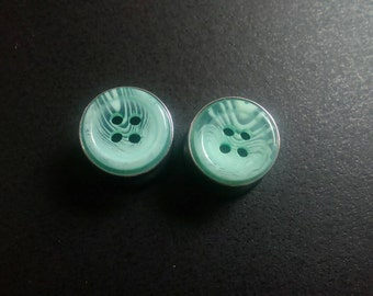 Seafoam Woodgrain Button Plugs, 12mm, One Off Pair