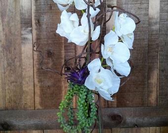 Faux Orchid And Succulent Floral Arrangement- Artificial Flower Arrangement