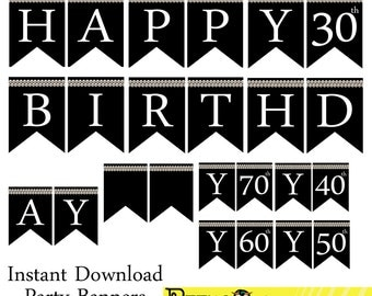 Instant download Silver Pearl Birthday Banner - Printable Happy Birthday Banner - Black 30th 40th 50th 60th 70th Birthday Party Banners!!!