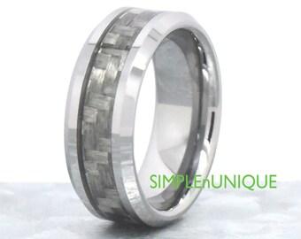 Wedding Ring Mens. Tungsten Carbide. Promise Ring. Unique. Grey Carbon Fiber Inlay. Tungsten Wedding Band. Engagement Ring Fiance Boyfriend