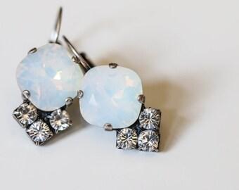 Swarovski Crystal White Opal Antique Earrings